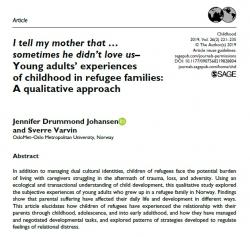 I tell my mother that… sometimes he didn't love us—Young adults' experiences of childhood in refugee families