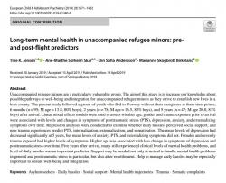 Long-term mental health in unaccompanied refugee minors